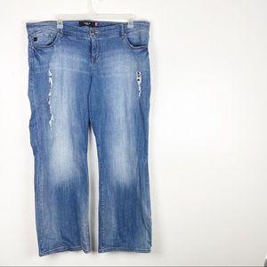 Torrid Ripped Distressed Wide Leg Blue Jeans
